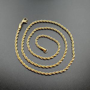 2019 oro di Hip Hop 18K ha placcato in acciaio inox 3MM intrecciata catena corda collana Choker delle donne per il regalo dei monili di HIPHOP degli uomini in massa