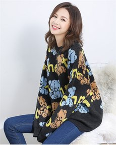 Womens Desinger otoño suéteres largo Crew manga del cuello del oso Imprimir la ropa caliente del estilo de la moda femenina ropa ocasional