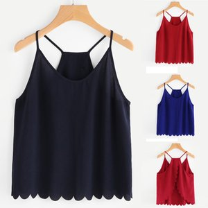 New Fashion Women Casual Camis Sleeveless Chiffon V-Neck Overlap Back Scallop Hem Crop Tops sexy top ropa verano mujer 2019