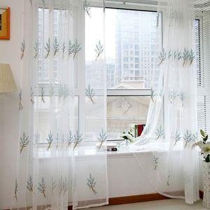 Sheer Panel Drape Bufanda Valances cortina de ventana Pastoral Floral tul gasa de ventana de la puerta de la cortina