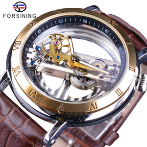 Forsining Double Side Transparent Brown couro impermeável automática Mens Relógios Top Marca de luxo esqueleto criativa relógio de pulso