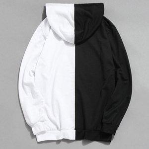Sweatshirt Hoodie Long Hip Hoody Hop Half Men Cool Plain Hoddies White Patchwork Cotton Black Sleeve Men's Male Half Fashion Streetwear Olvm