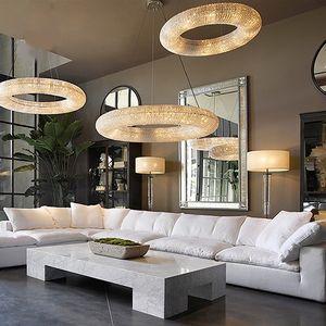 الثريا الكريستالية K9 الثريا الحديثة تدور حول الثريا الإضاءة Lustre de crystal globe الثريا LED Hanging Light Fixture