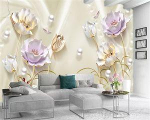 3d Flower Wallpaper High Definition Gold Relief Flowers Pearl Swan Lake Custom Beautiful Atmospheric Interior Decoration Wallpaper