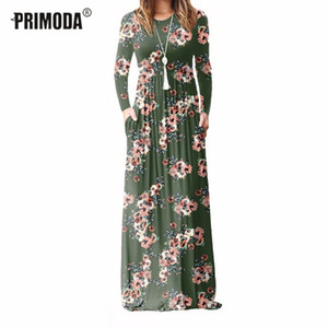 Xxl Plus Size Long Dress Women 2018 Autumn New Printed Maxi Dress Dropship Casual Floor-length Sundress Pockets Party 7 Colors MX19070401