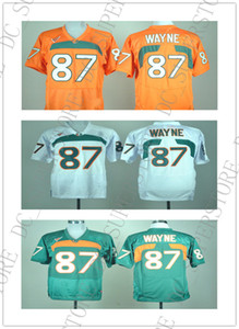 Baratos por atacado NEW Miami Furacões Reggie Wayne # 87 Futebol Jersey College Costurado de alta qualidade