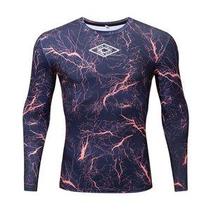 Мода Lead Запуск тенниска Мужчины Печать Фитнес мышцы тенниска с длинным рукавом сжатия Tight T-Shirt Центр Бодибилдинг тренировки Рубашки