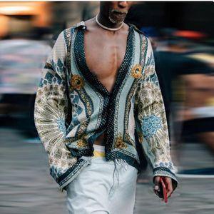 Camisa para hombre impreso bohemio profundo escote en V camisa de los hombres collar de la solapa de la vendimia larga para hombre de la calle principal de la manga de la blusa camisas ocasionales tamaño asiático