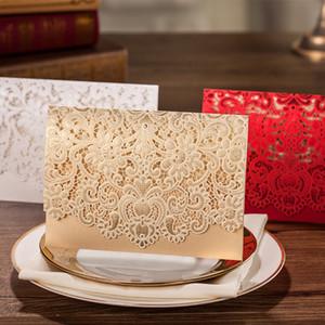 Карты Горизонтальное Лазерная резка Свадебные пригласительные карты Белое золото с кружев Цветок картотечная для девичника