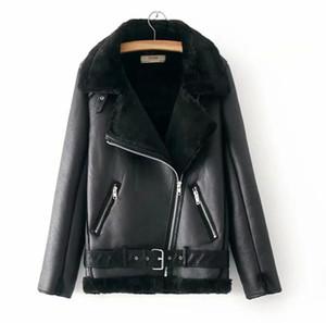 2020 Mulheres Designer Casaco de Inverno da motocicleta Velvet Marca Jacket feminino curto lapelas pele grossa coreano versão Plus Casacos Parkas Tamanho S-L