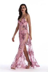 Dividir Vestidos V Neck Sexy até o chão Moda Feminina Roupa Night Club Bohemian estilo Vestuário Womens Verão Lantejoulas