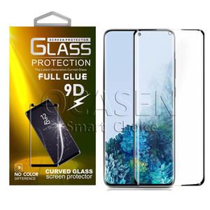 Samsung S9 S10 S20 Plus Ultra Not 9 10 Artı ile Perakende Paketi için tam Yapışkan Tutkal Vaka Dostu 3D 5D temperli cam