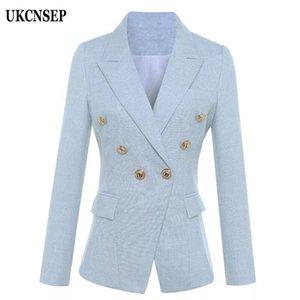 UKCNSEP 2020 Autumn Winter Women Blazer Sky Blue Long Sleeve Double Breasted Button Blazer Coat Women Jacket