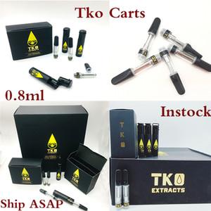 TKO Patronen Vapes Pens 510 Gewinde Carts Verpackung Keramik Coil Atomizer Instock 0,8 ml Öl Vaporizer Glaswanne E Zigaretten Vape Kit