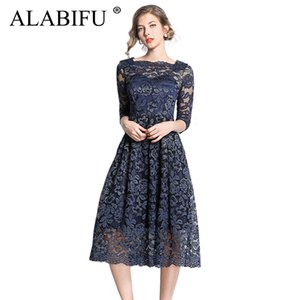 ALABIFU Langes Sommerkleid Frauen 2019 Sexy Ballkleid Spitzenkleid Plus Size Elegante Hochzeit Brautjungfer Party Kleid Vestidos 3XL
