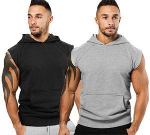 Homens Plain Top magro bolso Hoodie Fit ocasional pulôver sem mangas camisola colete com 2 cores Asiático Tamanho