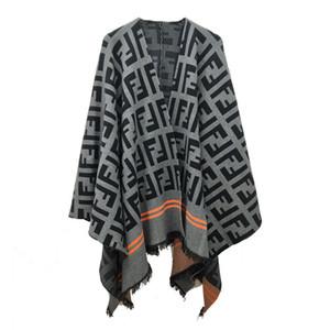 vêtements de mode F lettre cape frangée ample manteau châle en laine de vent de la mode des femmes de grande taille femmes