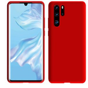 Casos de telefone celular simples cor sólida huawei p30 p20 pro caso de telefone móvel mate 20 silicone líquido capa protetora tudo incluído