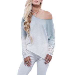 2017 neue Ankunfts-Frühlings-Herbst-T-Shirt der Frauen lose lange Hülse weg vom Schulter Baumwollbeiläufiges Hemd Tops Strickwaren T-Shirt S M L