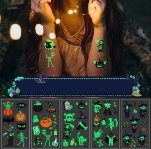 Decorazioni Tatuaggio del fumetto luminoso Halloween fluorescente Temporary Tattoo Sticker Environmental Friendly bambini zucca Animal Sticker partito