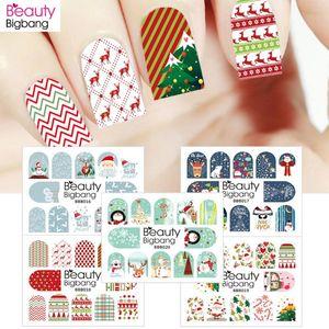 BeautyBigBang 1sheet Noel Tırnak Etiketler Çıkartması Noel Santa Clause Geyik Manikür Çıkartma Tırnak Sanat Su Çıkartma Dekorasyon