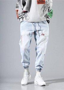 2020 new fall and winter street hip hop overalls men's jeans overalls elastic Harun jogging pants