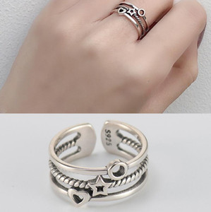 luxury jewelry sterling silver rings stars moon three times simple open rings classic band rings for women hot fashion