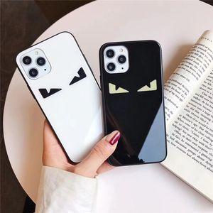 One Piece cas de téléphone de luxe pour iPhone 6S 7 8P XS XR 11 promax oeil de la mode avec téléphone Designer verre couverture arrière de cas