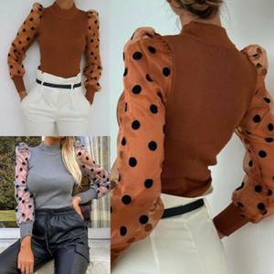 Women's Sheer Mesh See-through T-Shirts New Fashion Elegant Slim Polka Dot Puff Long Sleeve Tops TShirt Turtleneck Fall Tee Top