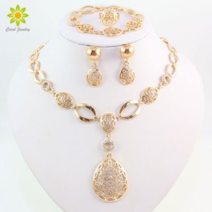 Fashion Vintage Clear Crystal Gold Color African Bridal Costume Jewelry Sets Nigerian Wedding Water Drop Necklace Earrings Set MX200528