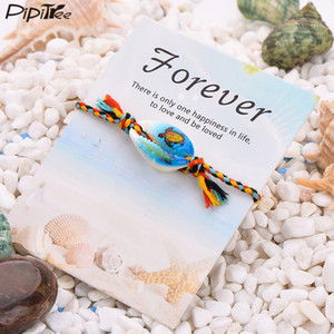 harm Bracelets Pipitree 25 Styles Bohemian Print Charm Sea Shell Bracelet Colorful Rope Braided Boho Wish Bracelets for Women Kids Jewelr...