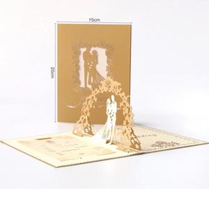 Criativa cavidade 3D fora do casamento Cartão do convite convida o engajamento doce laser de corte requintado do partido para o transporte livre casamento romântico