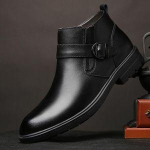 Echtes Leder-Mann-Herbst-Winter-Stiefeletten Mode Schuhe Schuhe Herren Business warme Winter Schnee Stiefel mit Fell A57-06
