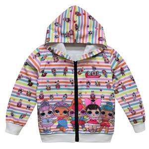 DHL Free 2color Cartoon Doll Girls Boy Hoodies Autumn Spring Kids Long Sleeve Sweatshirts Children hooded Hooded zipper Top Clothing Hoody