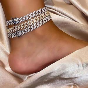 Argent diamant cubain Lien ANKLET Micro Pave zircon Bijoux Diamants Simulations 9 mm femmes cubaines anklet cadeaux pour anklet petite amie