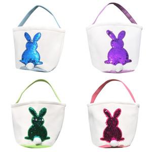 Блестки Пасхальный заяц корзины Кролик сумки Холст Банни Printed сумка для хранения Easter мешок подарков Блестки Кролик конфеты сумки