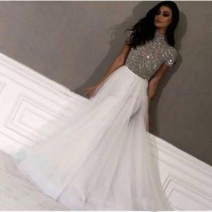 Modern Cap Kollu Abiye 2019 Uzun Dubai Arapça Abiye Giyim Gümüş Boncuk Balo Resmi elbise Yousef Aljasmi Parti elbise de soiree
