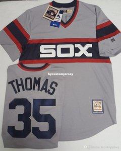Cheap FRANK THOMAS #35 CHICAGO MENS THROWBACK GREY JERSEY MAJESTIC Stitched baseball jerseys