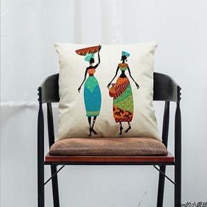 18inch 중국 국적 스타일 베개 커버 코 튼 리넨 단면 인쇄 자동차 베개 사무실 Office Sofa Pillowcase DH0885