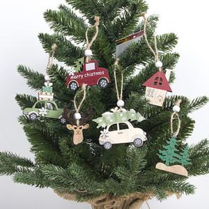 Estilos de madera creativo árboles de Navidad, Elk coches colgantes colgantes partido de Navidad del ornamento del ajuste de madera Decoración 3 Piezas 3 2xa E1