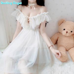 Yaz Elbise Yetişkin Seksi Off-omuz Elbise Kadın Şifon Tatlı Lolita Kızlar için Dantel Tatlı Lolita Cosplay Kostüm