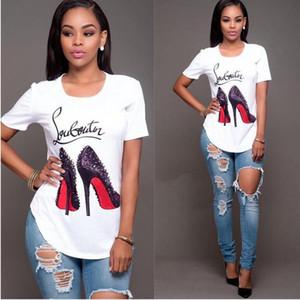 Moda Kadın T-shirt Kısa Kol Yüksek topuklu ayakkabılar Baskılı T Gömlek Yaz O-boyun tişörtleri Tees Kızlar tişörtleri Günlük Sade Giyim Tops