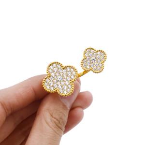 أعلى جودة النحاس الإبداعية فتاة المجوهرات فتحت حلقة مع الصغيرة والكبيرة الماس زهرة الأزياء والمجوهرات بالجملة سحر الصين البيع المباشر P