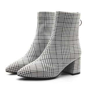 Women Pointed Toes Plaid Ankle Boots Chunky Heels Lady Fashion Boots Back Zip shoes Grid Boots Pumps JY20