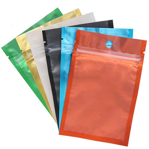 100pcs Mylar Ziplock bolsa resellable color Ziplock bolsa frontal de plástico transparente Embalaje Caramelos bolsa plana de calor sello resellable
