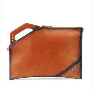 Neue retro designer crazy horse pu leder handtasche handtaschen männer frauen nähen straße niet hohe qualität umhängetasche umhängetasche