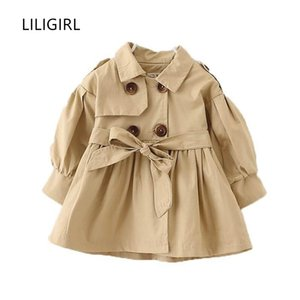 LILIGIRL Kids Fashion Tops Clothes for Baby Girls Bow Jacket Coat 2018 Children's Autumn Cotton Windbreaker Outwear New