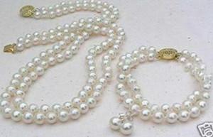 word Love women Fashion Jewelry Venta encantadora 2 filas White 8mm Akoya Cultured Pearl Necklace Bracelet earring set