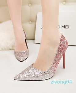 11cm Stiletto heel sexy gradient sequins pumps pointed toe glittler bridal wedding banquet shoes red purple blue with bottom red xshfbcl z04