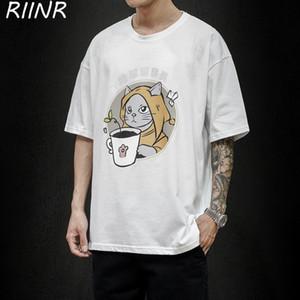 Riinr 2020 Sommer neue Männer Karikatur druckt Large Size-kurzärmliges T-Shirt M-5XL